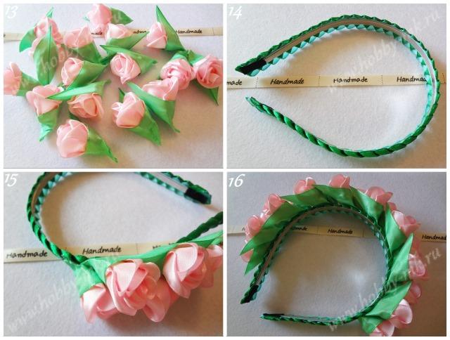 Декорируем ободок маленькими розами
