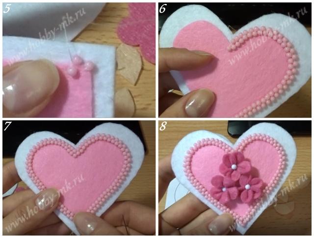 Как сделать валентинку из фетра ч.2