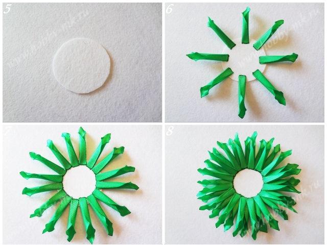 Наклеиваем ряды лепестков георгина на кружок из фетра