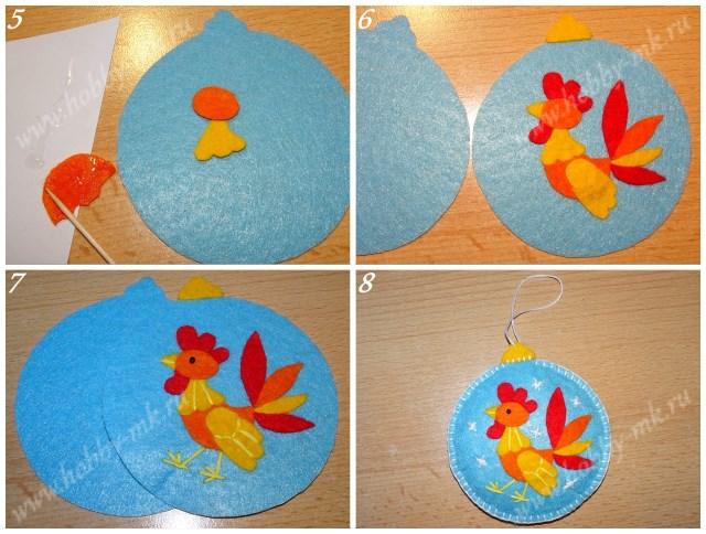Как сделать новогодний шарик из фетра ч.2