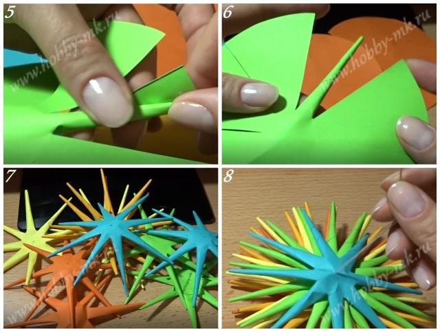 Как сделать колючий шар из бумаги ч.2