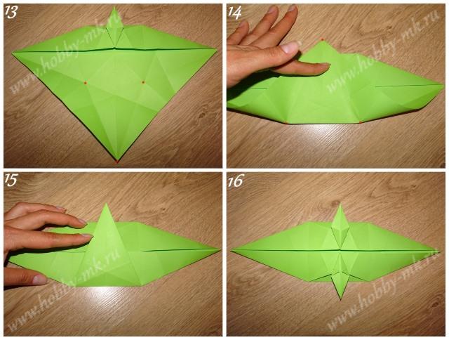 Как сделать рождественский венок оригами ч.4