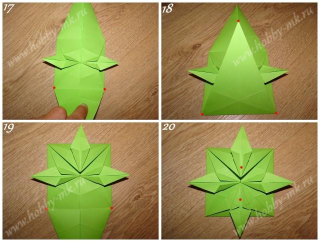 Как сделать рождественский венок оригами ч.5