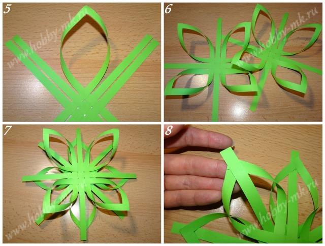 Как сделать снежинку из бумажных полосок ч.2