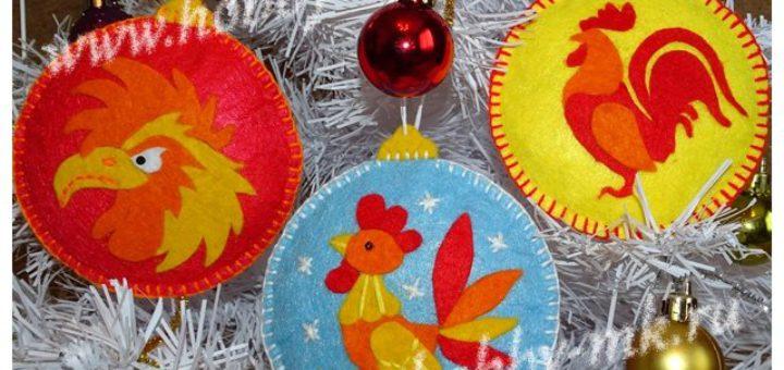 Новогодние шарики из фетра