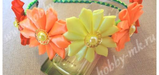 Ободок с цветами канзаши