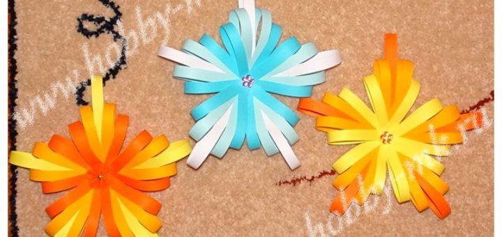 Объемные снежинки из бумажных полосок