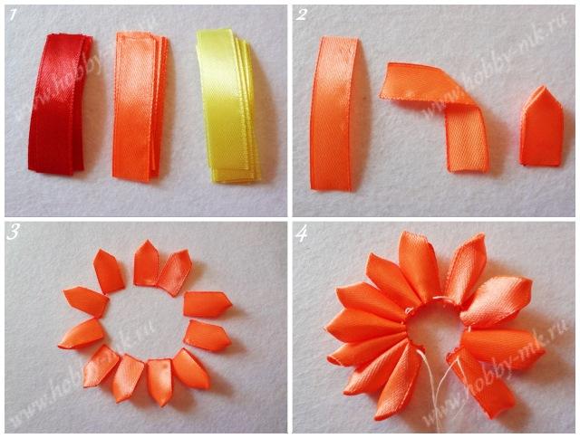 Как сделать простые цветы канзаши ч.1