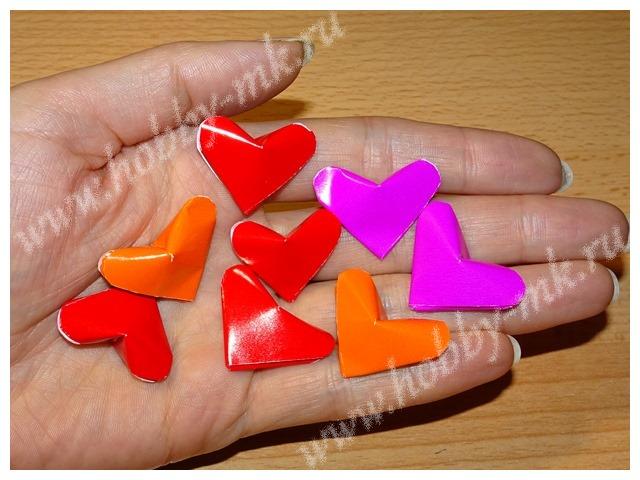 Сердечки из бумажных полосок