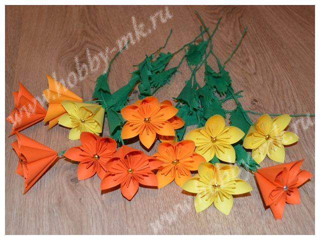 Цветы из офисной бумаги - бумажный букет