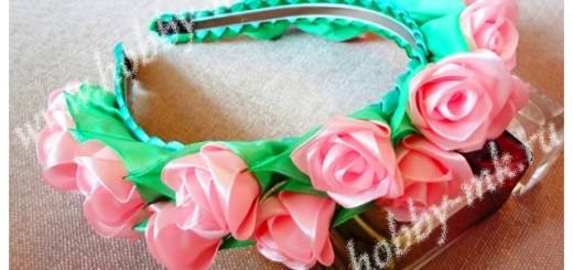 Ободок с розами канзаши