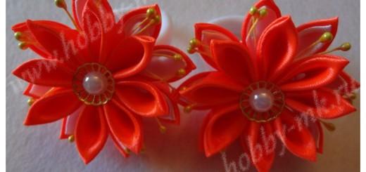 Двойной цветок канзаши из острых лепестков