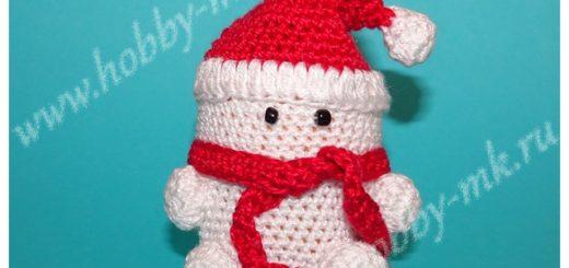 Снеговик из киндера крючком