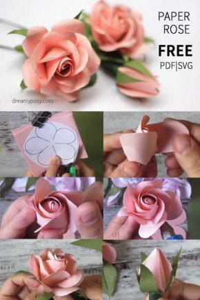 Чайная роза из бумаги - мастер-класс