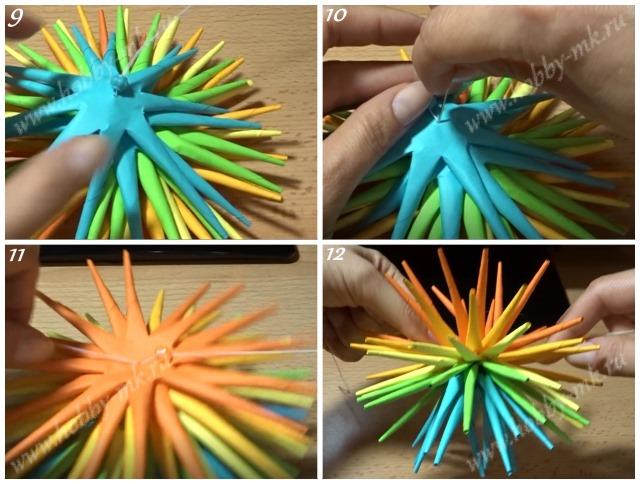Как сделать колючий шар из бумаги ч.3