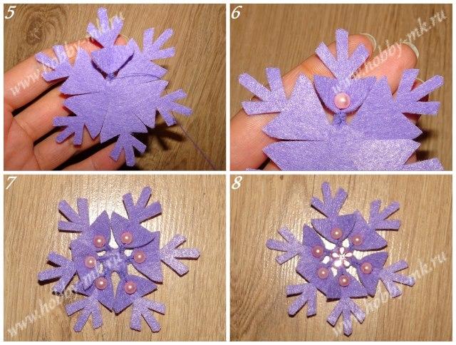 Как сделать снежинки из фетра ч.2