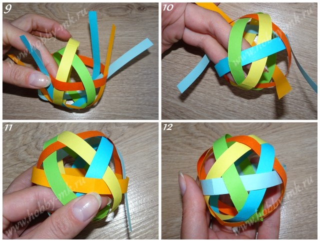 Как сделать шарики из бумажных полосок ч.3