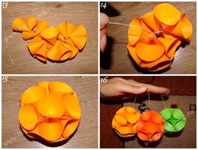 Как сделать шар из конусов ч.4