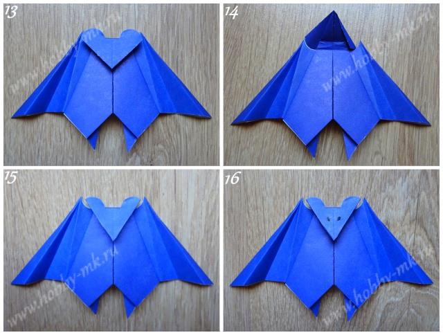 Как сделать летучую мышь оригами ч.4