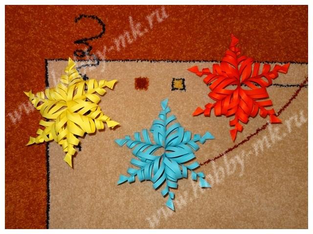 Объемные разноцветные снежинки из бумаги
