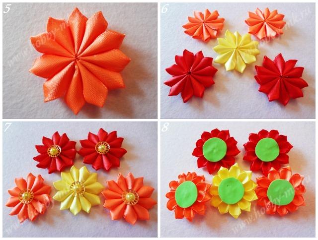 Как сделать простые цветы канзаши ч.2