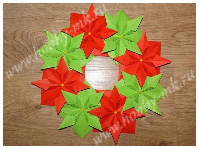 Рождественский венок оригами