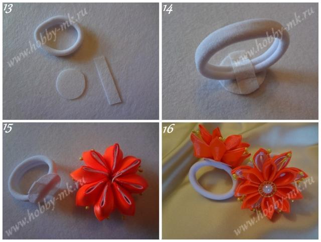 Закрепление цветка на резинке для волос