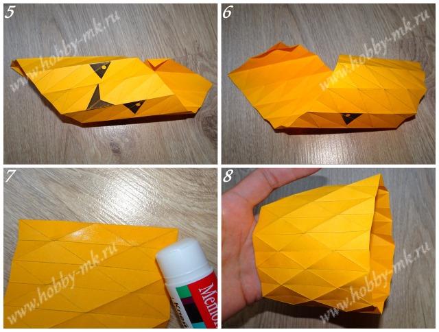 Объемная тыква из бумаги ч.2