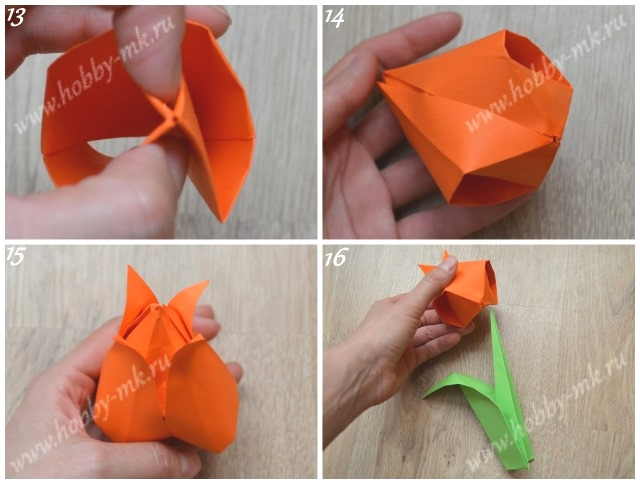 Тюльпан оригами поэтапно ч.4