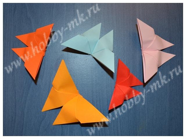 Бабочки оригами по простой схеме