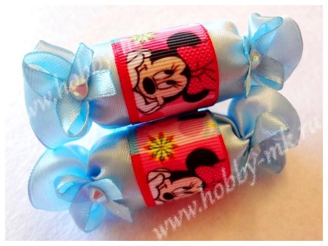 Оригинальные конфетки из атласных и репсовых лент