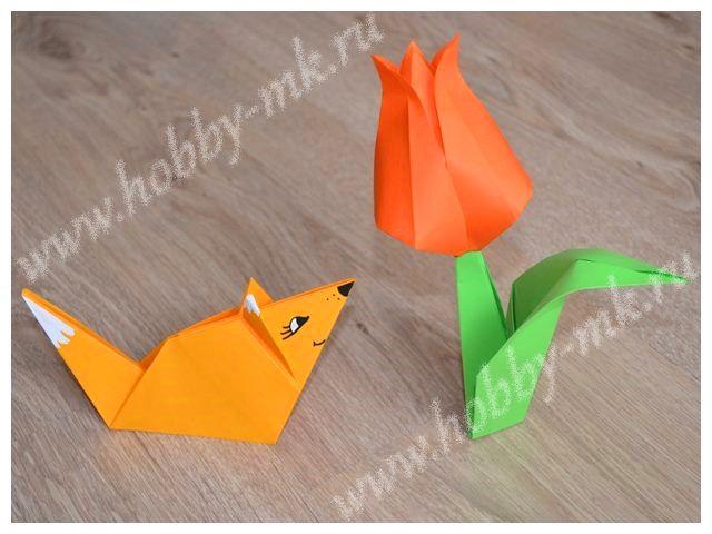 Лисенок в технике оригами