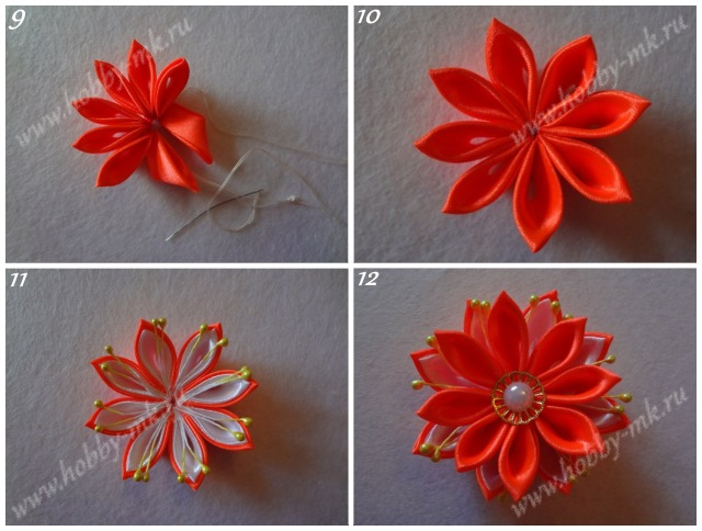 Сборка цветка канзаши из острых лепестков